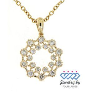 Natural Floral Round Diamond Pendant